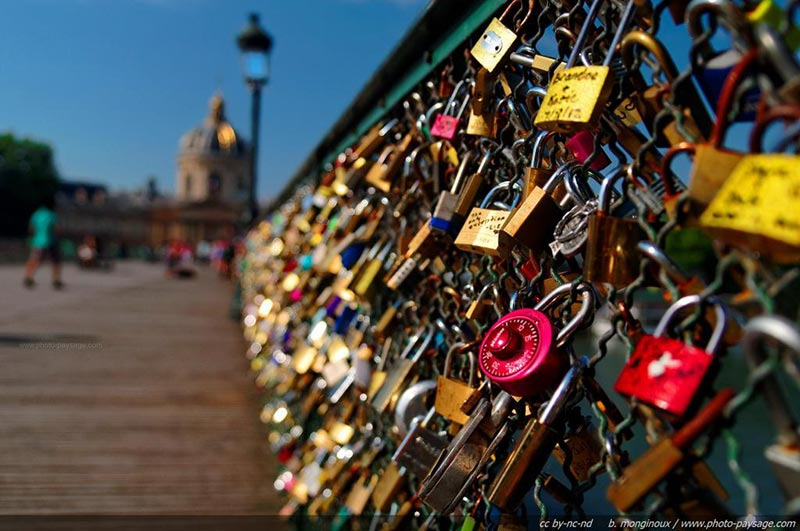 Most famous lover bridge in Paris